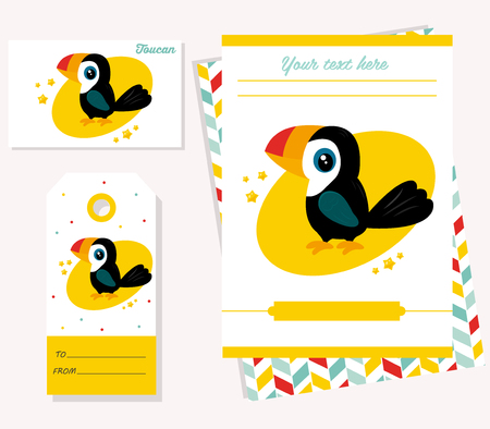 Party invitation template with funny cartoon toucan.