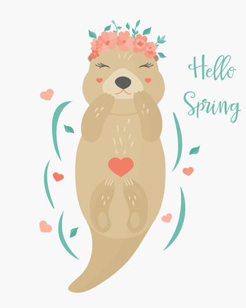 Vector illustration. Hello spring image with a lovely otter in floral wreath