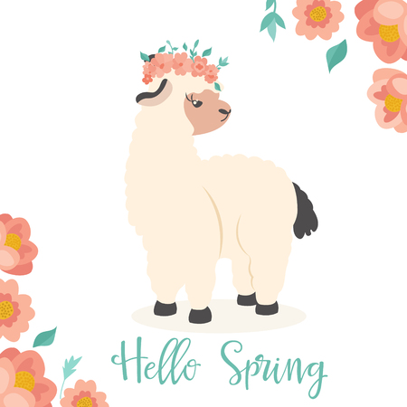 Vector Illustration. Hello spring image with a lovely lama in floral wreath Illustration