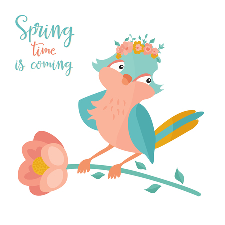 Vector illustration. Hello spring image with a lovely bird in floral wreath Ilustrace