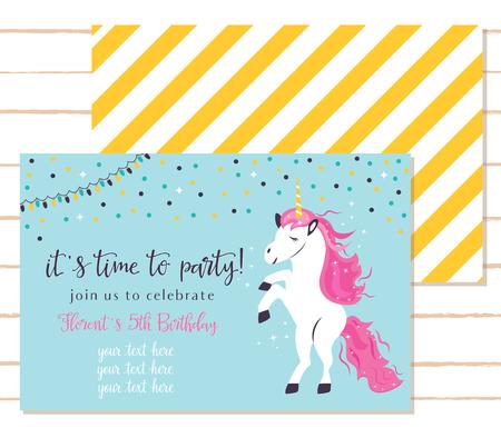 Baby shower invitation template with cute unicorn. Stock Illustratie