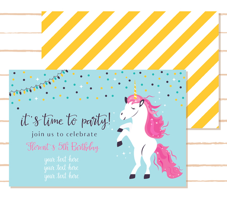 Baby shower invitation template with cute unicorn. Çizim