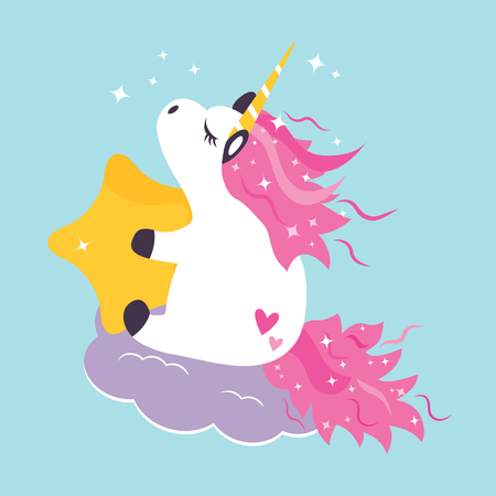 Vector illustration of cute dreaming unicorn