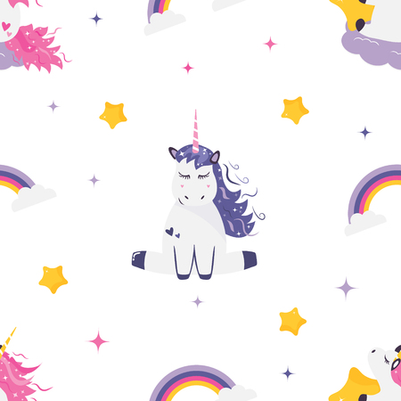Seamless pattern with cute dreaming unicorns. Illustration