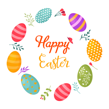 Happy Easter greeting card template 일러스트