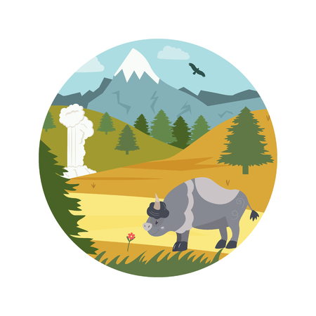 Natural park poster. Scene with bison, mountains
