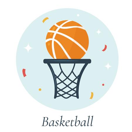Vector Illustration Of Basketball Ball And Basket Symbols Of