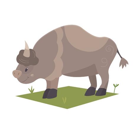 An illustration of cartoon bison on white backdrop 일러스트
