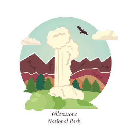 Vector illistration of geyser in Yellowstone National Park. Natural landmark of USA Vettoriali