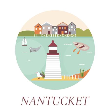 An illustration of Nantucket Island poster. Illustration