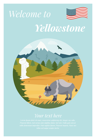 Vector illustration of natural park. Scene with bison, geyser and mountains