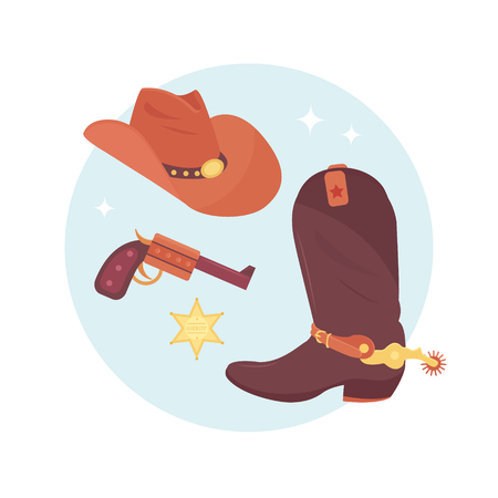 Wild west elements set. Cowboy accessories. Hat, boot, revolvers and sheriff star badge