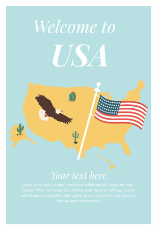 Vector illustration of USA map and America's symbols - flag and eagle Illustration