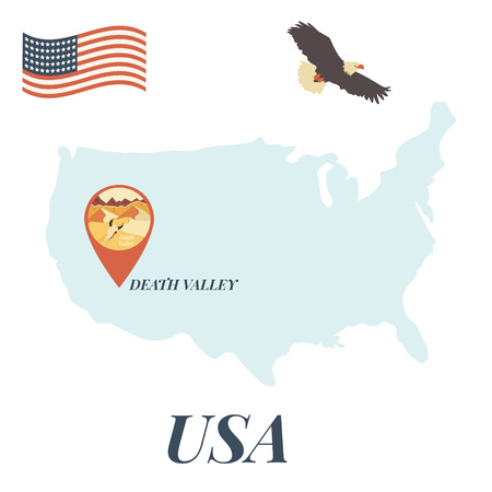 USA map with Death Valley pin travel concept vector illustration.