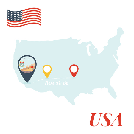 USA map with Route 66 pin travel concept vector illustration. Illustration
