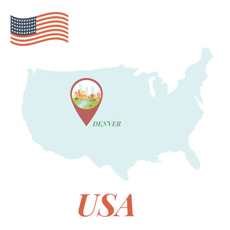 USA map with Denver pin travel concept vector illustration.