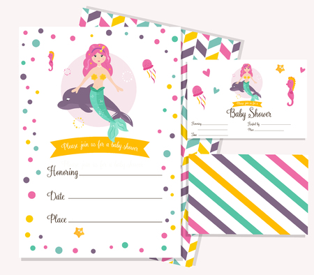 Bright Invitation Card With Cute Mermaid Birthday Party Card
