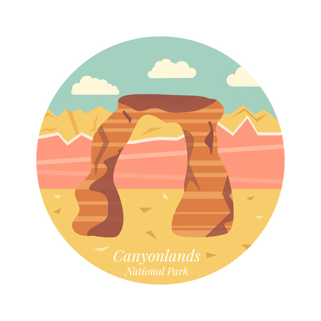 Welcome to Arches National Park, Utah poster. Image of Delicate Arch Vector illustration.