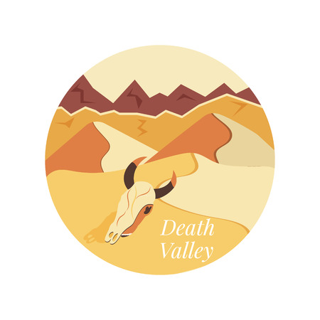 Welcome to Death Valley poster. Sand dunes, rock mountains and animal skull Vector illustration.