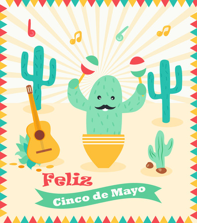 cinco de mayo poster template with bright cactus and symbols
