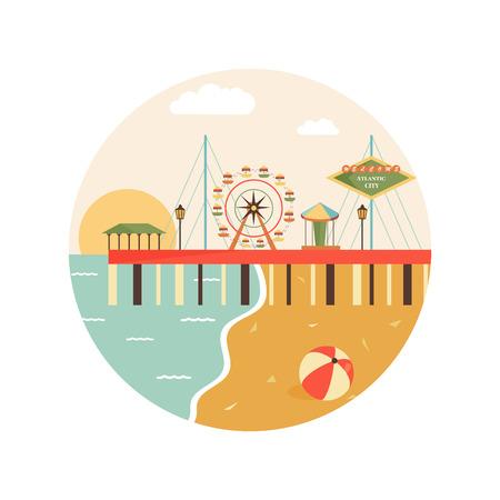 Bienvenue à atlantic city voir image sur la ville Banque d'images - 98288279
