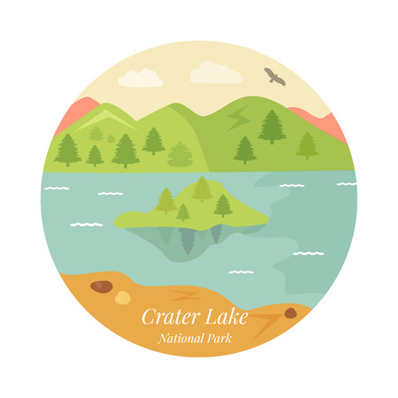 Welcome to Crater Lake National park poster. View on lake, mountains and island Ilustração Vetorial