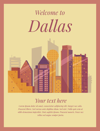 Welcome to Dallas poster. Vintage card.