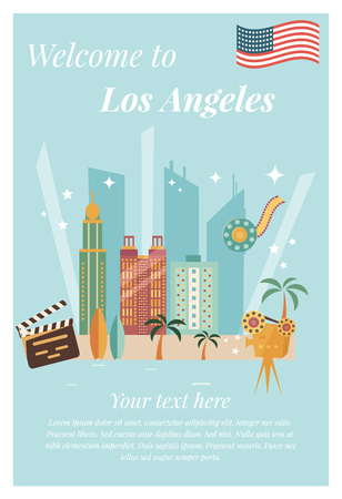 Welcome to Los Angeles poster. Concept design with film making equipment, surf boards and skyscrapers