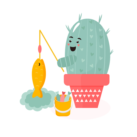Vector illustration of cute cartoon cactus, fishing.