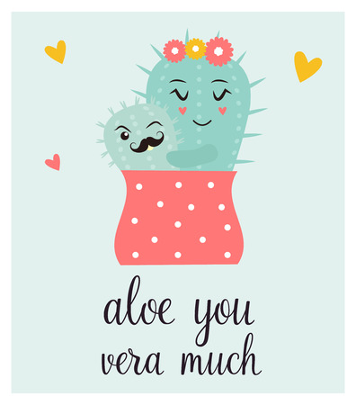 Bright card with cute smiling cactus and quote. Vector illustration. Illustration