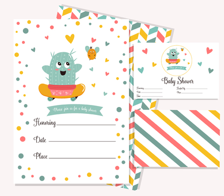 Baby shower poster with cute cactus. Invitation template Vector illustration.