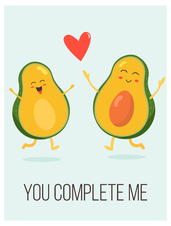 Manifesto luminoso con coppia di avocado carino e dicendo.