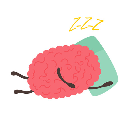 Train your brain poster with funny cartoon brain sleeping on the pillow