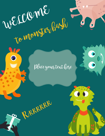 Birthday postcard or invitation with cute monster and text. Party card design