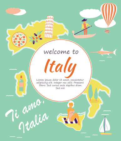Welcome to Italy concept image with a set of tourist destinations and objects