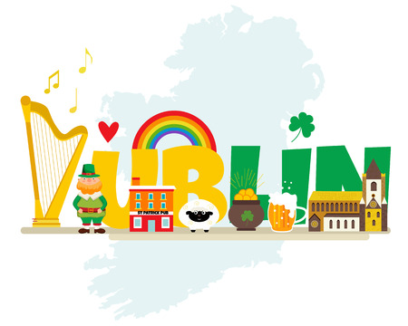 Irish background with set of landmarks and symbols. Illustration