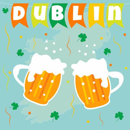 Irish concept celebration background. Flags beer and shamrock Vettoriali