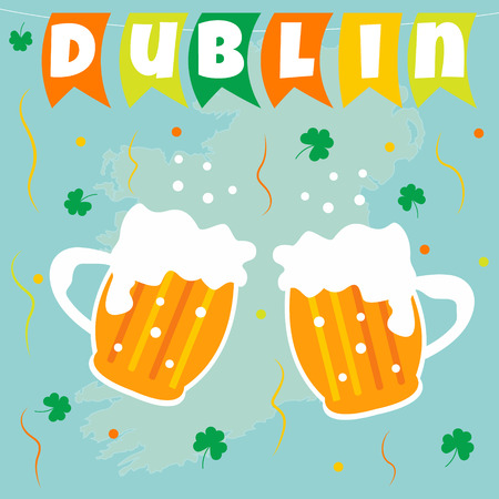 Irish concept celebration background. Flags beer and shamrock Illustration
