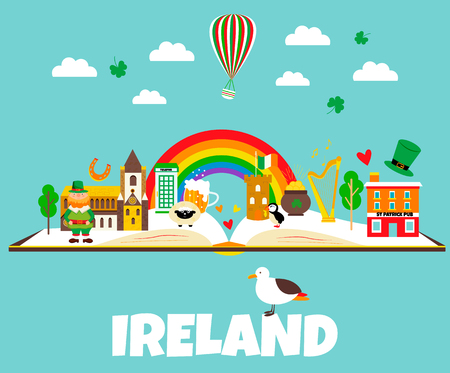 Irish background with set of landmarks and symbols. Иллюстрация
