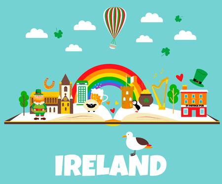 Irish background with set of landmarks and symbols. Vettoriali