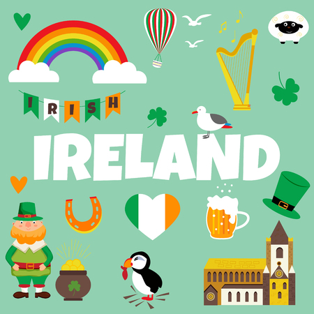 Irish background with set of landmarks, characters and symbols.