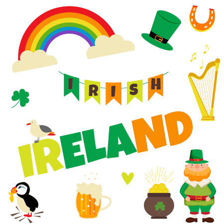 Trip to Ireland or Dublin. Set of illustrations of Irish drinks, costumes, traditional symbols, musical instruments, nature, symbols.