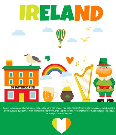 Irish background with set of landmarks, characters and symbols.