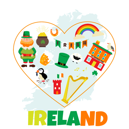 Irish background with set of landmarks and symbols. Illustration