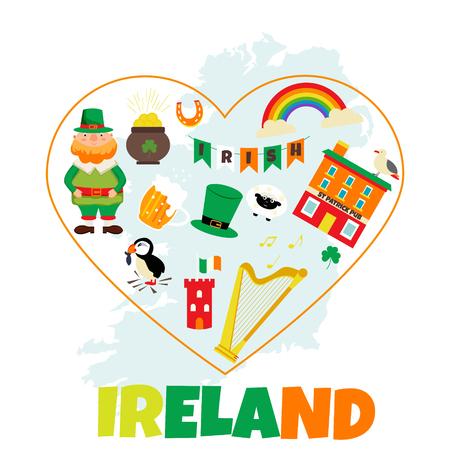 Irish background with set of landmarks and symbols. Stock Illustratie