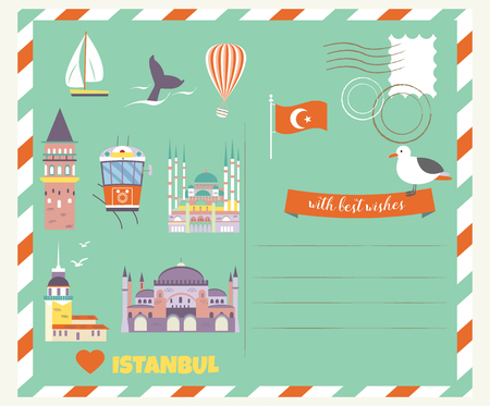 Tourist postcard with famous destinations and landmarks of Istanbul. Explore Istanbul concept image Illustration