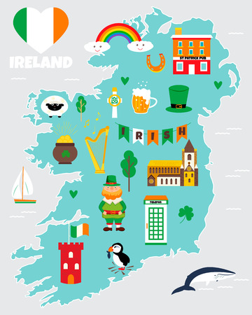 Tourist map of Ireland with landmarks, destinations and symbols. Stock Vector - 99563033