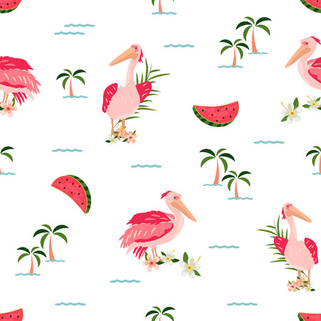 Tropical pattern with pelicans, watermelons
