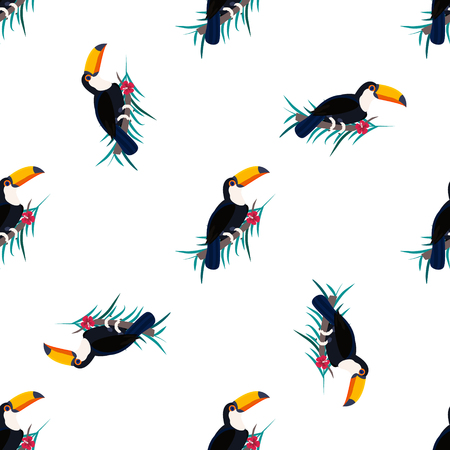 Seamless pattern with toucans. Can be used for fabric. textile paper wrapping
