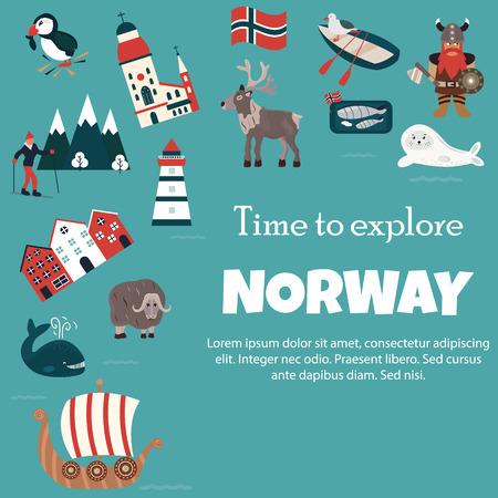 Set of Norway landmarks. Vector illustration.